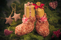 Christmas gifts handsewn socks decorations branches spruce Stock Photography