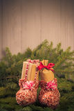 Christmas gifts handsewn socks decorations branches spruce Royalty Free Stock Image