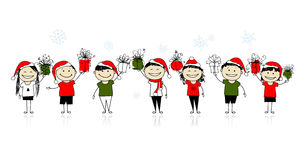 Christmas gifts. Happy friends together Stock Photo