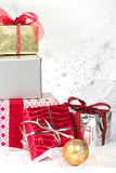 Christmas gifts with holiday ornaments Stock Photos