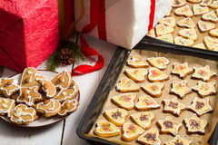 Christmas gifts and homemade cookies Royalty Free Stock Photo
