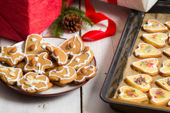 Christmas gifts and homemade cookies Royalty Free Stock Photography