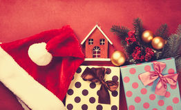 Christmas gifts and house toy Stock Images