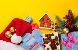 Christmas gifts and house toy Stock Photos