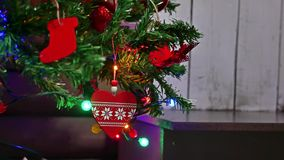 Christmas gifts interior tree New Year and toys room blinking lights and fireplace Royalty Free Stock Images