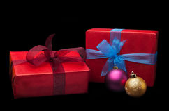 Christmas gifts Isolated on black background. Christmas gifts, with balls. Isolated on black Royalty Free Stock Photo