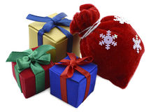 Christmas gifts isolated Stock Images