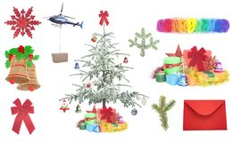 Christmas gifts and items. Isolated on white royalty free stock images