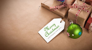 Christmas gifts with label Royalty Free Stock Images