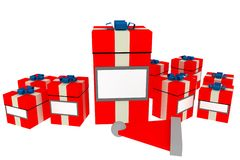 Christmas gifts with label space. Christmas gift boxes with space for label Stock Photos