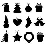 Christmas gifts and labels. Vector illustrations of silhouette Christmas gifts and labels decorated bows Stock Photography