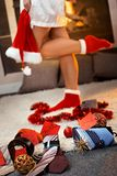 Christmas gifts for men by pretty girl Stock Image