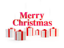 Christmas gifts and the merry christmas words Royalty Free Stock Photo
