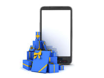 Christmas gifts and mobile phone Stock Photo