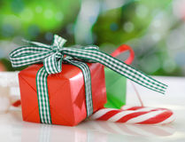 Christmas gifts near the Christmas tree Royalty Free Stock Image