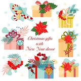 Christmas gifts, with New Year`s decor. Christmas wreaths. Templates postcards royalty free illustration