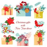Christmas gifts, New Year`s decor. Christmas wreaths. Templates for postcards stock illustration