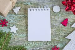 Christmas gifts notebook Stock Photo