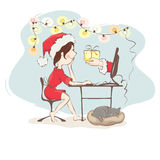 Christmas gifts through online royalty free illustration