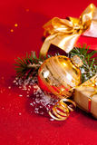 Christmas gifts and ornament still life. Royalty Free Stock Image