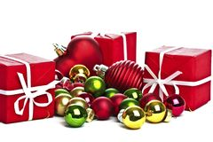Christmas gifts and ornaments Royalty Free Stock Photo
