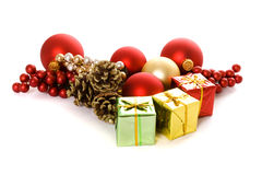 Christmas gifts, ornaments, pine cones Stock Photos
