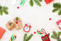 Christmas gifts and ornaments. On a white background. Top view, blank space Royalty Free Stock Photos