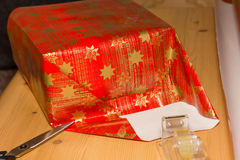 Christmas gifts. Packaging of some Christmas gifts royalty free stock photos