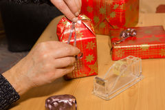 Christmas gifts. Packaging of some Christmas gifts Stock Photos