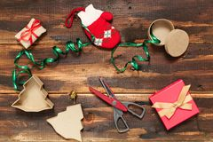 Christmas gifts packing Royalty Free Stock Image