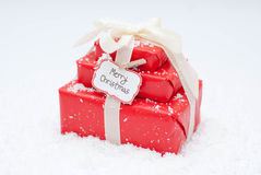Christmas. Gifts and paper label Stock Photos