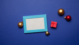 Christmas gifts and photo frame Stock Photos