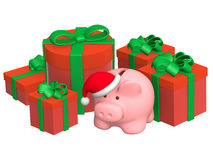 Christmas gifts and piggy bank Stock Images