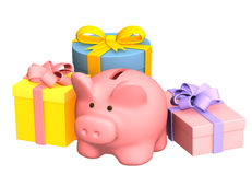 Christmas gifts and piggy bank Stock Photos