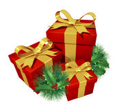 Christmas gifts with pine holly Stock Image