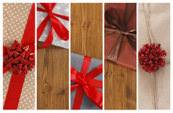 Christmas gifts and present boxes collage background Stock Image