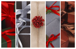 Christmas gifts and present boxes collage background Stock Photography