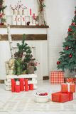 Present boxes under fir-tree Stock Images