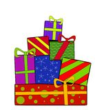 Christmas Gifts Presents. A clip art illustration of a pile of Christmas gifts and presents wrapped in various colorful papers topped with bows and isolated on Stock Image