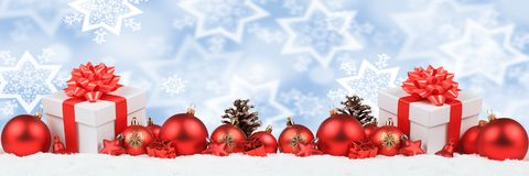 Christmas gifts presents balls banner decoration snow winter bac Royalty Free Stock Photography