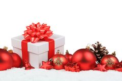 Christmas gifts presents balls decoration snow winter isolated Royalty Free Stock Photos