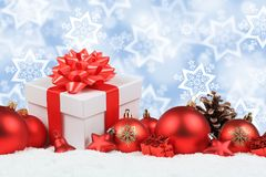 Christmas gifts presents balls decoration stars background copys. Pace copy space text Stock Photo