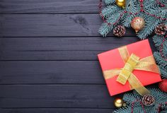 Christmas gifts presents with decorations on a black background. stock photos