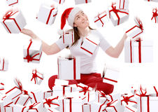 Christmas gifts rainning on santa Royalty Free Stock Photos