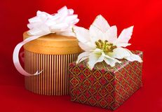Christmas gifts on red Royalty Free Stock Photos