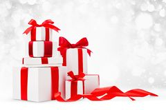 Christmas gifts with red bows stock image
