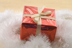 Christmas gifts in a red box Stock Photos