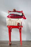 Christmas gifts on a red chair Royalty Free Stock Photography