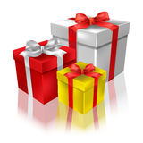Christmas gifts with reflection on a white Stock Photo