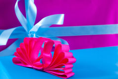 Christmas gifts with ribbons Stock Image